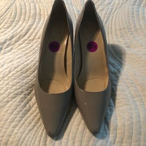 Taupe Paten Leather Pumps